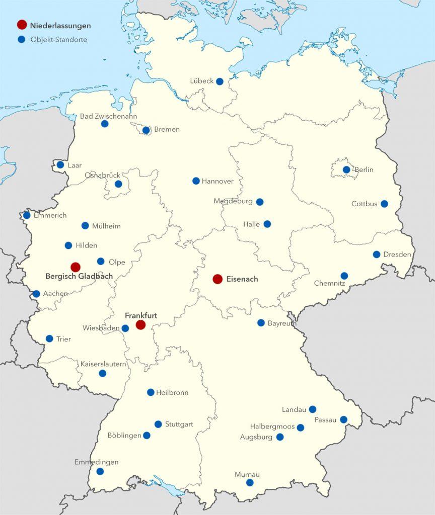 Ego-Landkarte der Standorte und Objekte